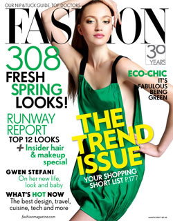 Fashion March 2007.  This is the first Fashion issue that I ever bought.  I was seduced by the colours, the pose and the freshness of the model's face.