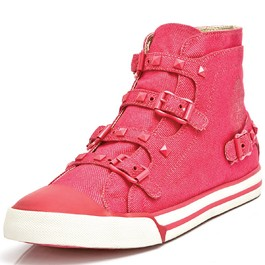 Chuck Buckle in pink denim with pink studs and buckles