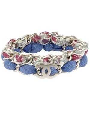 Denim and metal Chanel bracelets