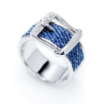 Di-Amanda Signature Denim & Diamonds buckle ring