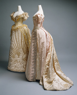 Evening dresses designed by Worth circa 1887 (left, silk, glass, metallic thread) and 1892 (silk, crystal, metallic thread)
