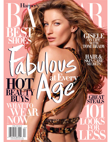 Gisele on the April 2009 cover of Harper's Bazaar