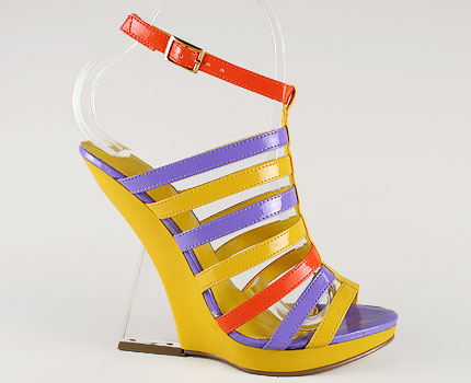 Go Jane strappy colorblock surreal wedge $21US
