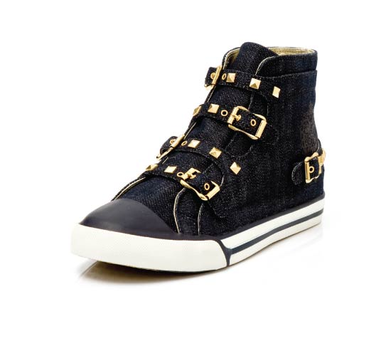 Chuck Buckle in denim with gold studs and buckles