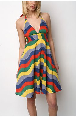 Urban Outfitters rainbow stripe halter dress $49.99US (was $88)