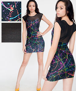 American Apparel printed sweetheart two-toned mini dress $69CAD