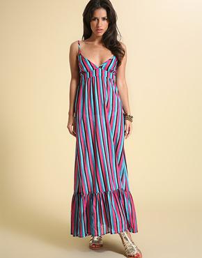 Chilli Pepper multi stripe maxi dress L35 at ASOS.com