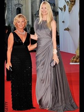 Claudia Schiffer (left) and Alberta Ferretti at the 2008 Venice Film Festival