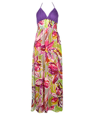 Forever 21 painted floral maxi halter dress $41.80CAD