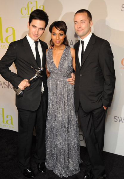 Lazaro Hernandez (left) and Jack McCollough with Kerry Washington