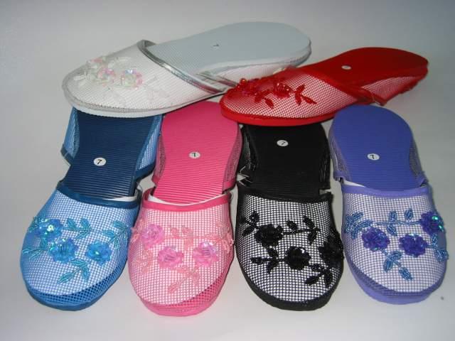 beaded mesh slippers