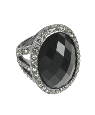 Forever 21 oblong jewel gunmetal ring $6.80CAD