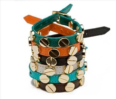Single Wrap Leather Screw Bracelet $95.00USD