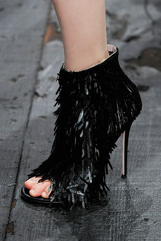Valentino fringed toe-less stiletto bootie