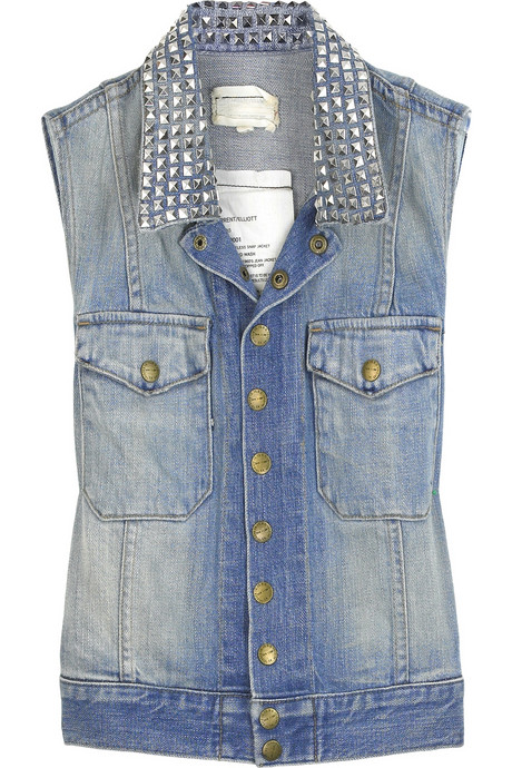 Current/Elliott sleeveless snap denim jacket $400USD at Net-A-Porter