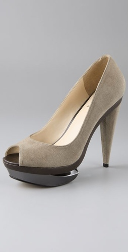 Velvet Angels Town peep toe pumps on broken platform $295USD at ShopBop.com