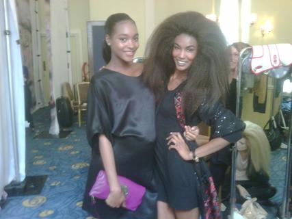 Jourdan Dunn, with her growing baby bump, and Sessilee Lopez in London for London Fashion Week.