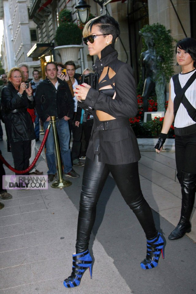 Rihanna on her way to the Jean Paul Gaultier show