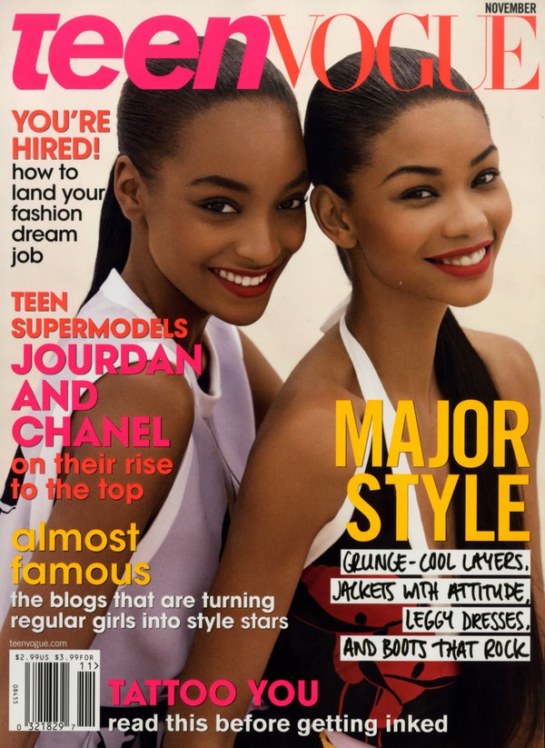 Jourdan Dunn and Chanel Iman on the cover of Teen Vogue