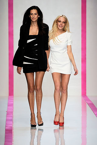 Estrella Archs and Lindsay Lohan take their bow at the Emanuel Ungaro SS2010 show