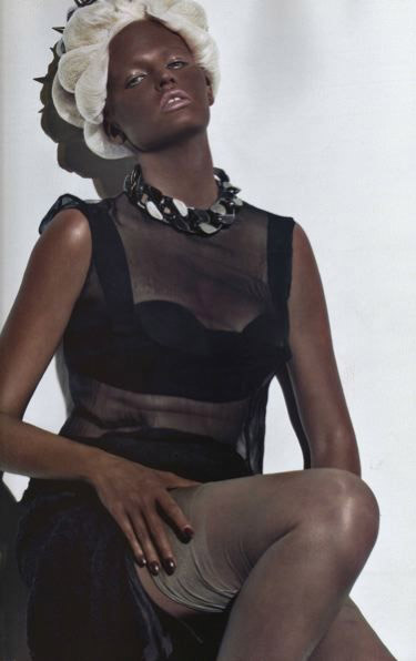 Lara Stone in Blackface for Paris Vogue