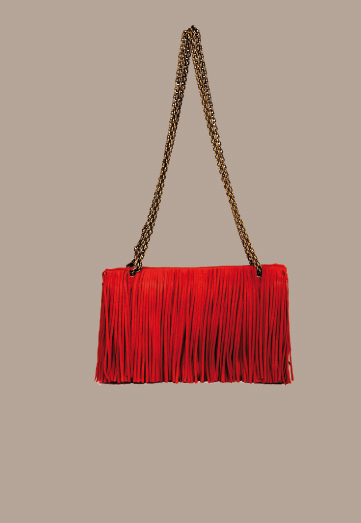 Trussardi 1911 red fringed chain strap purse