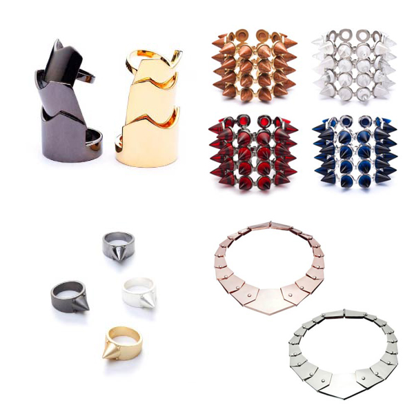Clockwise from top left: hinged plate ring, 4 layer gemstone cone bracelet, metal cone ring and plate collar.